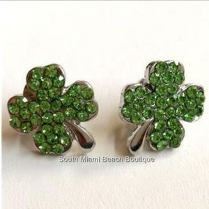 Silver Shamrock Earrings Crystal Green Irish